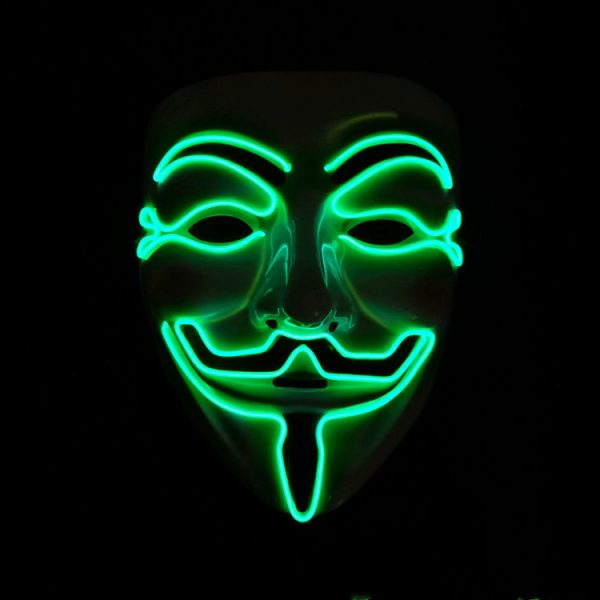 V For Vendetta Mask Green LED