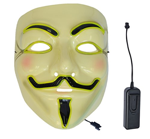 V For Vendetta Mask Yellow LED with remote controller