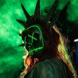 lady liberty green led purge mask