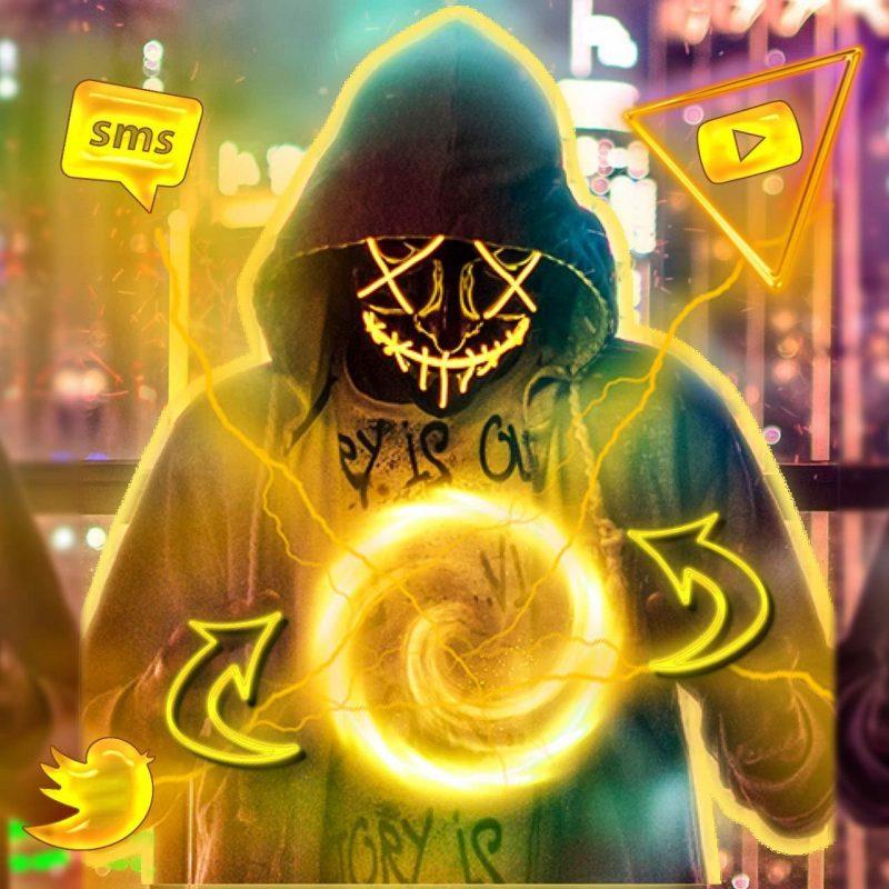 led light up purge mask yellow
