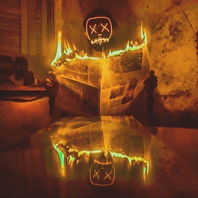 orange light up purge mask and fire