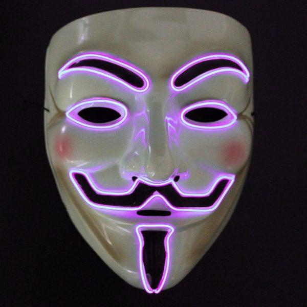 pink led vendetta mask