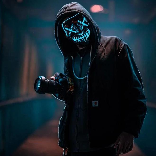 purge horror led mask blue