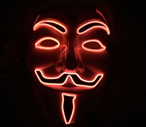 vendetta mask red neons glowing