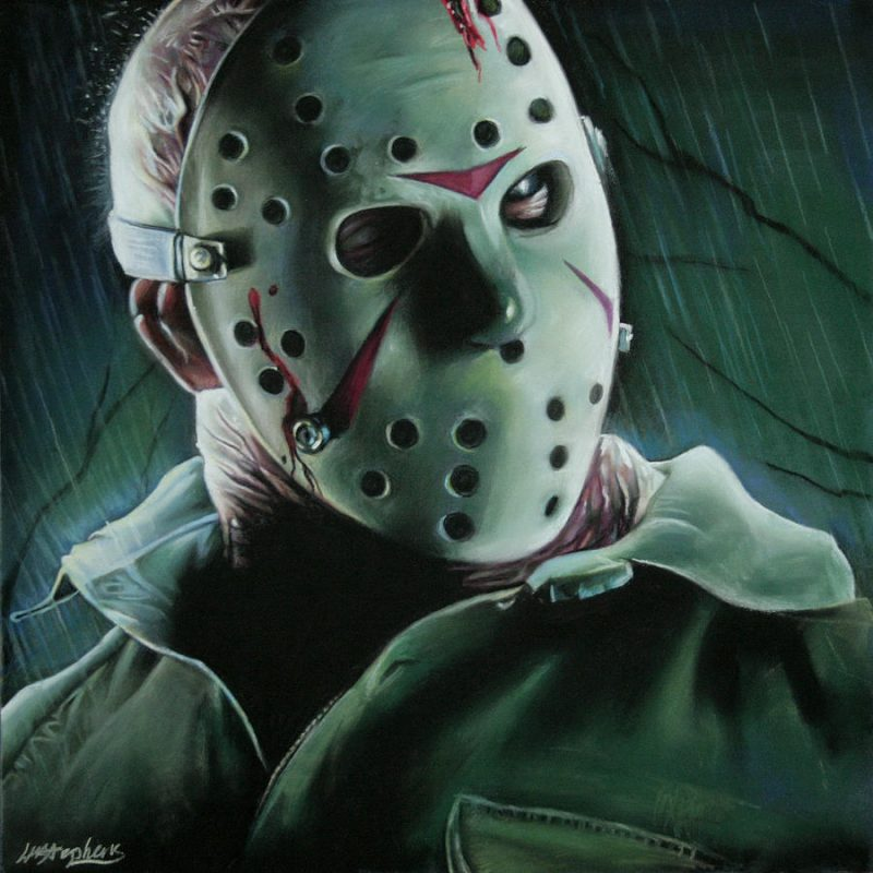 white mask jason voorhees with blood wallpaper