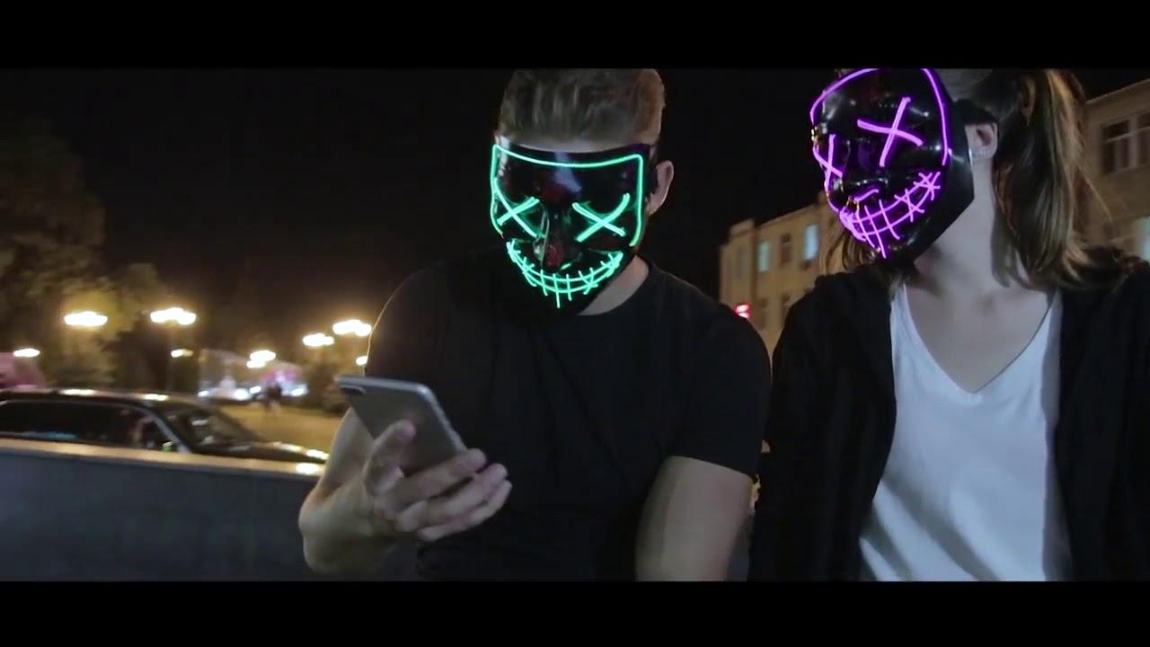 women purple led purge mask that light up