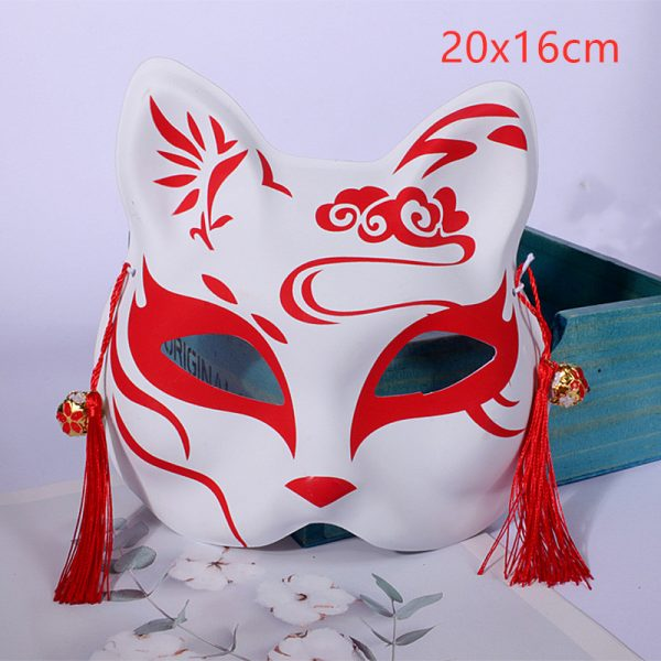 Japanese Fox Mask Demon Kitsune Red Half Face