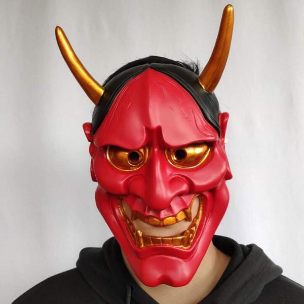 Japanese Oni Mask Red Half Face