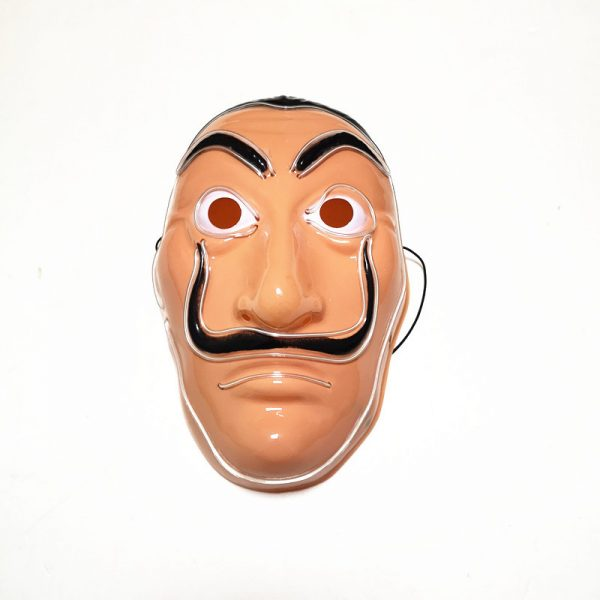 Salvador Dali Mask Money Heist LED White that light up