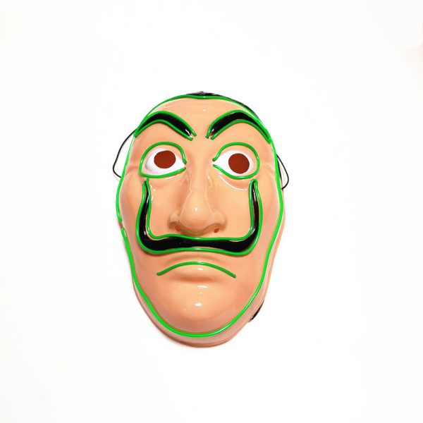 Salvador Dali Mask Money Heist LED Green that light up