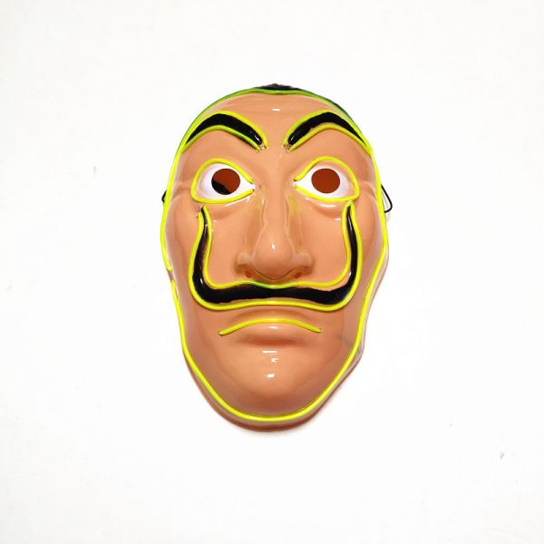 Salvador Dali Mask Money Heist LED Yellow that light up