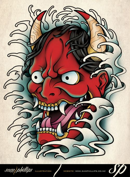 Red oni demon drawing