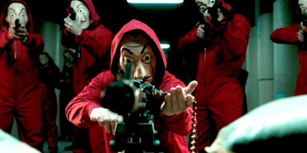 Salvador Dali Mask Money Heist with a machine gun