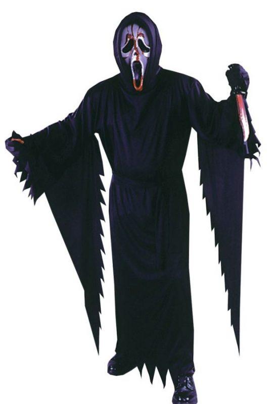 bloody scream mask in a halloween costume