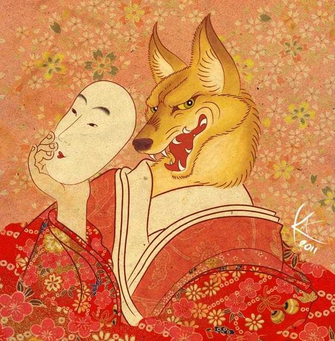 fox with a kitsune face mask
