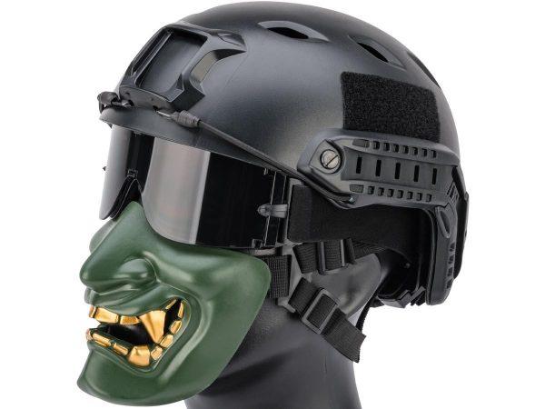 green oni half mask with teeth