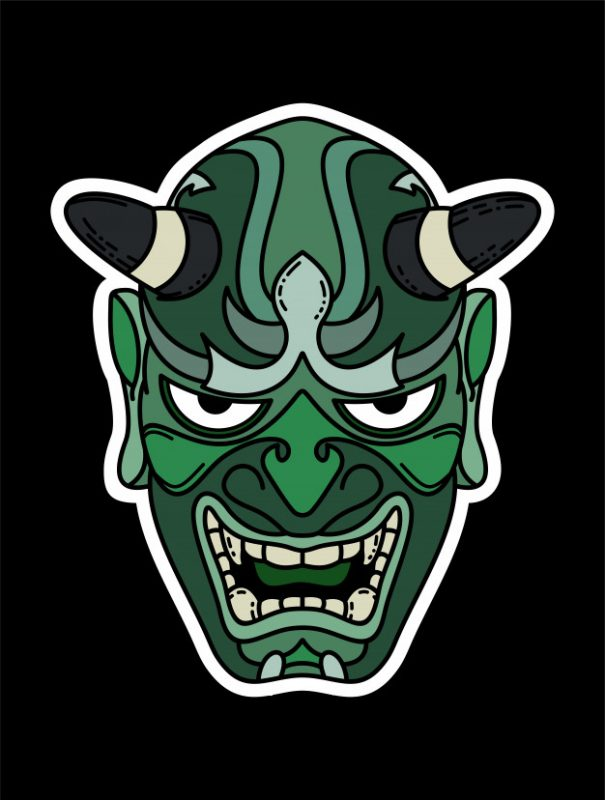 green stickers oni face