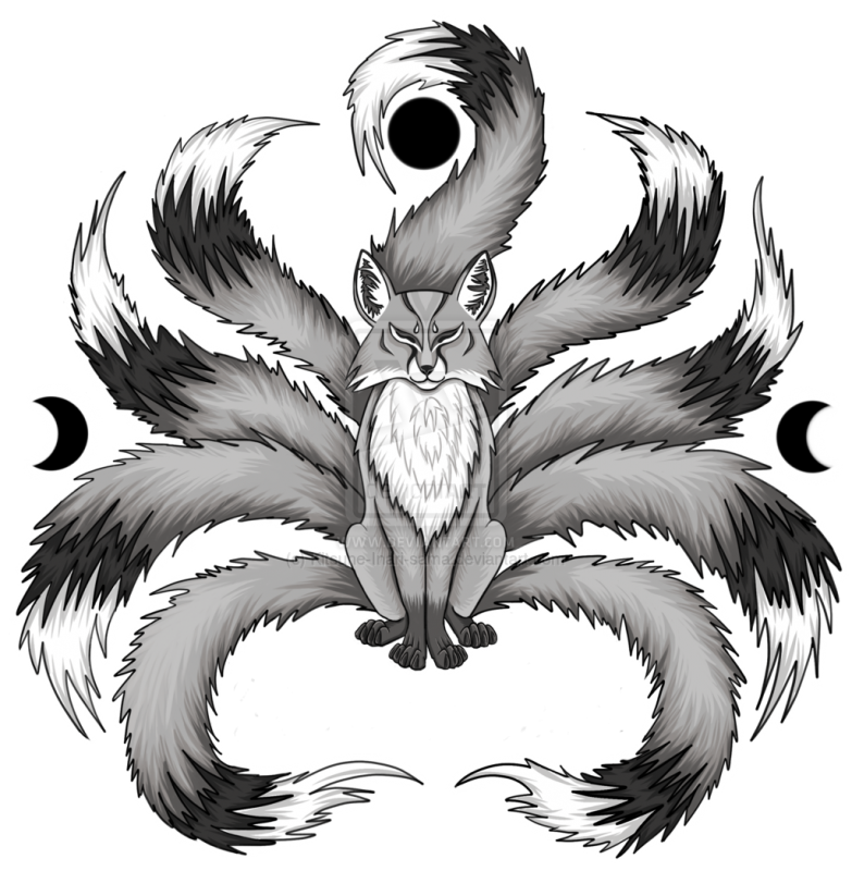 kitsune fox with 10 tails