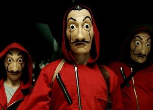 money heist mask red costume