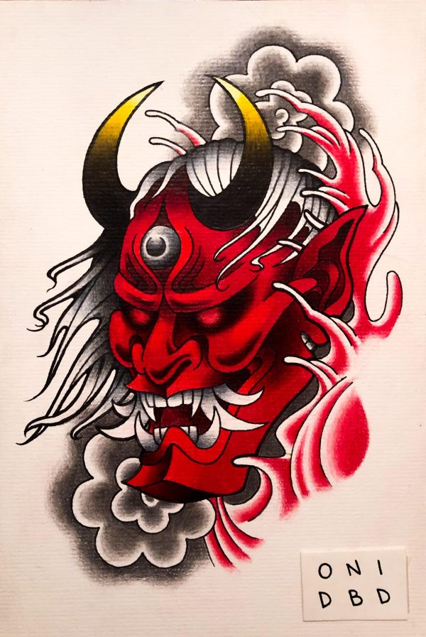 oni red face drawing