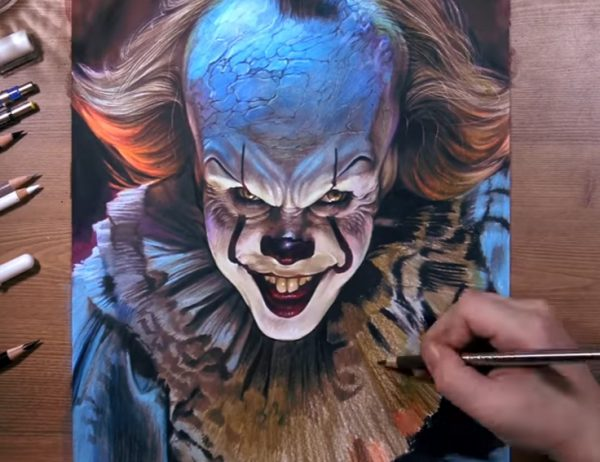 realistic drawing of pennywise