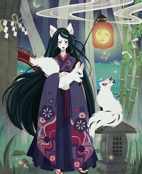 white kitsune illustration